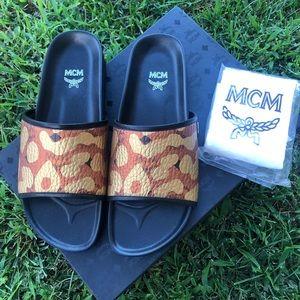 MCM Men's Slides monogram coated canvas shoes
